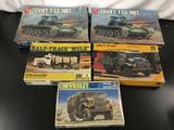 5x military plastic model kits, 1/35 scale; 2x AMT-ERTL Soviet T-55 MBT, Revell - Italaerei