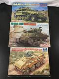 3x military plastic model kits, 1/35 scale; Dragon Sd.Kfz.251 Ausf. C German Pioneerpanzerwagen,