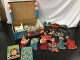 Lot of vintage toys, books and character hand puppets; Remco Project Yankee Doodle Secret Rocket