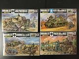 4x Nitto military diorama plastic model kits, 1/76 scale; Jagd Panther Set, Hanomag Sd.Kfz.250 set,