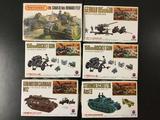6x military plastic model kits, 1/76 scale; SEALED Matchbox Char B.1 bis/Renault Ft.17, 2x Nitto