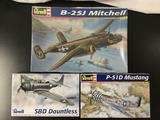 3x Revell plastic military aircraft model kits, 1/48 scale; SEALED B-25J Mitchell, SBD Dauntless,