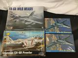 4x military aircraft plastic model kits, 1/48 scale; SEALED Revell EA-6A Wild Weasel, MPC Grumman