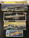 4x plastic model kits; Revell USS Forrestal - CV59, Academy/ Minicraft John F. Kennedy USA Carrier,