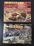 2x military plastic diorama model kits; MPC Tank Battle At El Alamen, Aurora Anzio Beach.