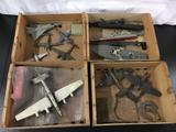 4x wood flats with started model kits; planes, jets, submarines, ships.