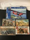 5x plastic model kits, 1/32 scale; Revell Piper PA-18 Super Cub, SEALED AirFix German Infantry