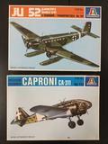 2x Italeri military aircraft plastic model kits, 1/72 scale; JU 52 Junkers 3M(G5-G9), Medium Bomber