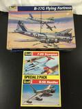 2x Revell- Monogram military aircraft plastic model kits; B-17G Flying Fortress 1/48 scale, B-58