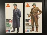 2x STARTED Tamiya Military Figure Series Model Kits, 1/25 scale; Field Marshal Rommel, General