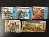 5x military plastic soldier model kits, HO scale; 3x MPC: Modern Soviet Infantry, WWII German