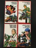 4x Atlantic plastic military soldier figures, HO scale; Anti-Tank Guns, Artillery, Medical Soldiers,