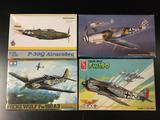 4x military aircraft plastic model kits, 1/48 scale; Edward Weekend Edition P-39Q Airacobra,