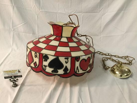 Vintage hanging parlor lamp light fixture with poker/cards checkered motif
