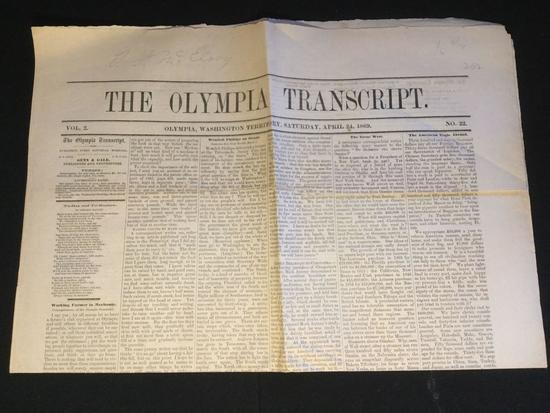 Antique WA Territory Newspaper: The Olympia Transcript, April 24, 1869 in VF cond