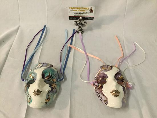 Pair of New Orleans hand painted porcelain masks with ribbons - signed by the artist as is