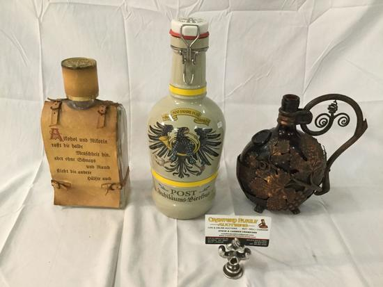 Selection of 3 decorative vintage bottles incl. Proist & Burgerspital glass bottle & Schnaps bottle