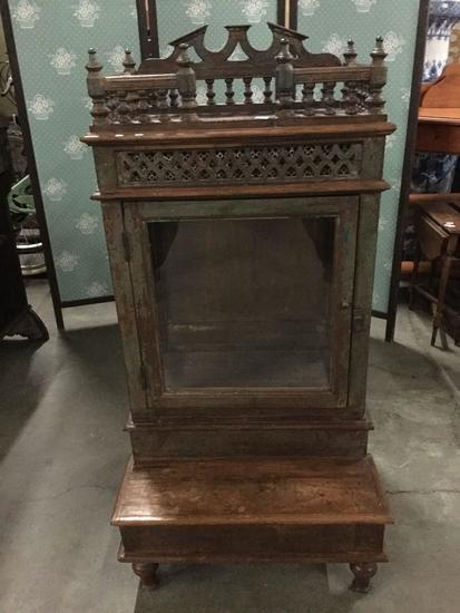 Antique 1860 teak wood carved counter top display case with glass window doors