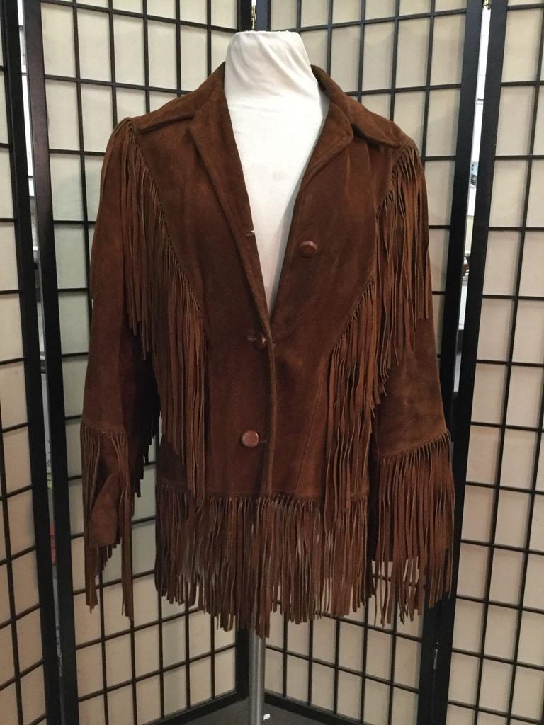 Vintage dark brown leather jacket with fringe