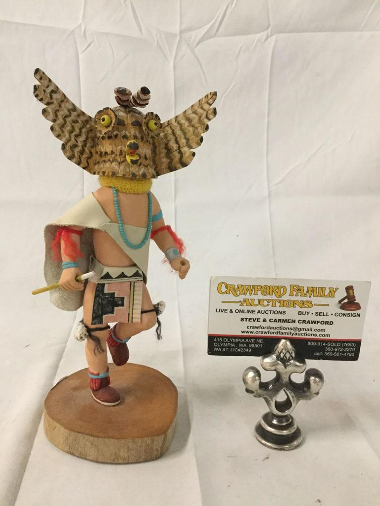 Native American Hopi Owl Warrior Kachina painted wood figure signed Russell M 1993
