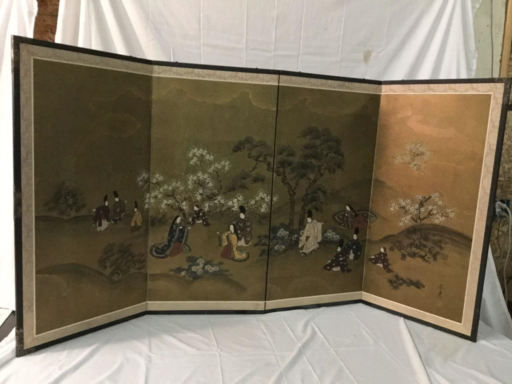 Vintage hand painted Japanese 4 panel screen - classic scene
