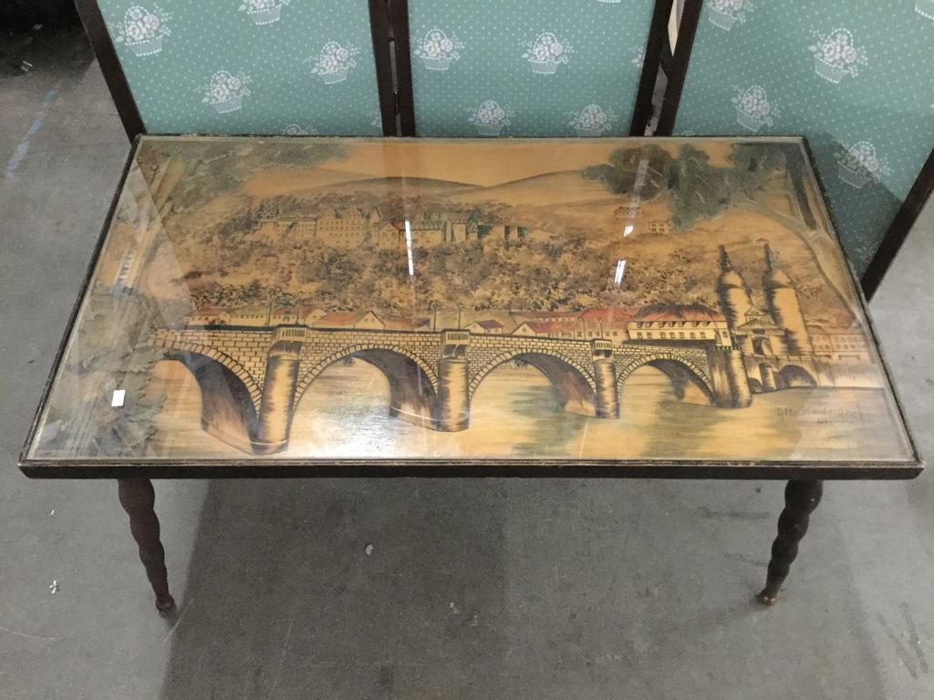 Mid Century 1960 Germany, Heidelberg cut wood bridge scene art coffee table - signed