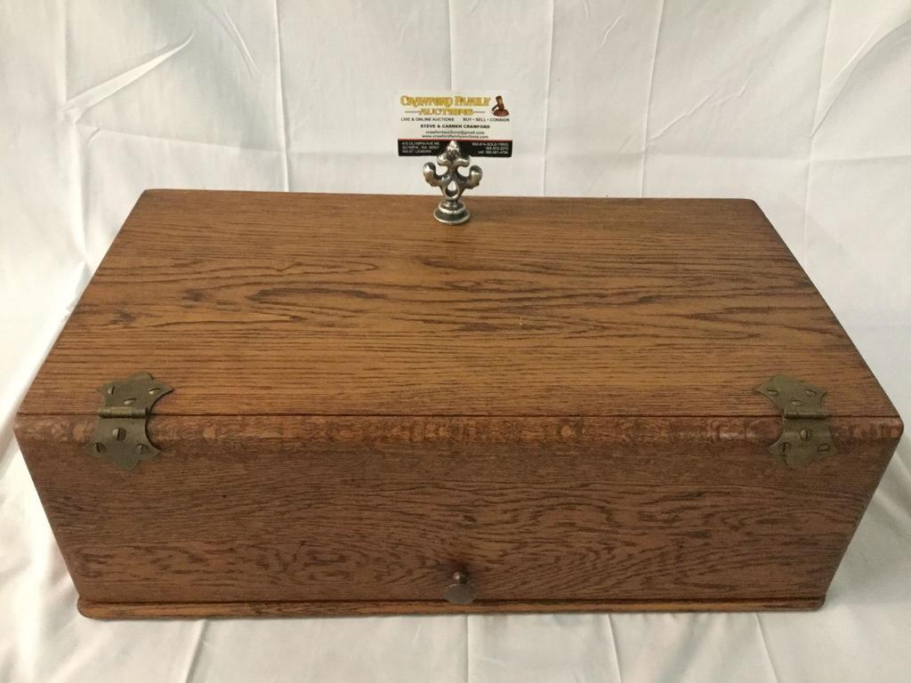 Vintage oak tabletop 3 shelf print storage box