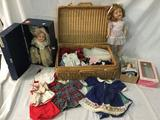 3 antique Ideal Shirley Temple dolls w/ doll trunk and wicker suitcase full of doll clothes