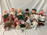 Collection of Annalee Thorndike Dolls - Annalee Mobilitee Dolls incl. Santa Claus, Waldo, etc