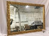 Large ornate vintage Rococo style gold frame accent mirror - as is