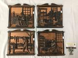 Lot of 4 copper backed wall hanging craftsman art pieces - Coppersmith, Printer, etc