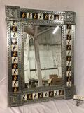 Large metal and ceramic Kokopelli tile frame mirror - made in Mexico
