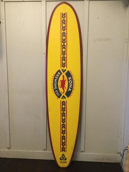 Kona Brewing Company Wall Hanging Surfboard Designed by Terry Senate. 95 x 22.5 inches