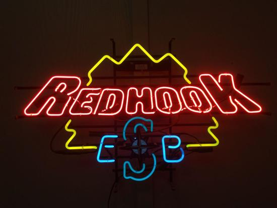 Vintage Neon Red Hook ESB Seattle Mariners Bar Sign, 21 x 34.5 inches