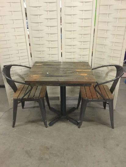 Outdoor Wood top table with 2 Metal and Wood Slat Chairs, see pics