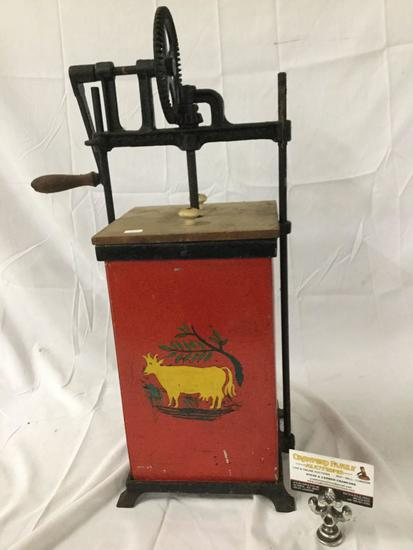 Antique 1907 wood and steel butter churn with handpainted cow design