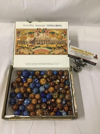 Cigar box full of antique 1920s German Bennington marbles