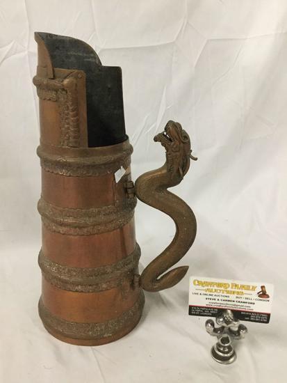Antique copper dragon handled grain measure scoop vessel from Tibet
