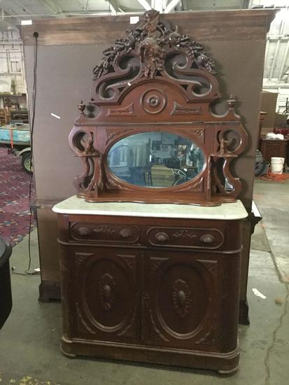 "Antique M. Ohmer's late 1800's ""fruit carved"" sideboard server w/ ornate mirror, marble top - as is"