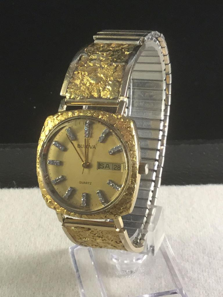 Vintage Bulova watch w/ 22K Alaskan gold nuggets around dial and on band