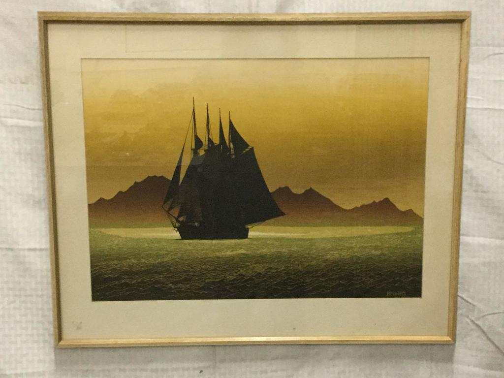 Elton Bennett serigraph Ship at sea print in green and autumn colors - framed
