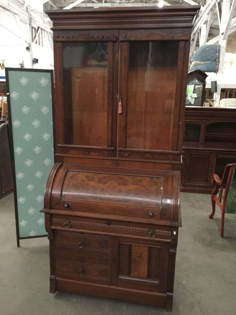 Antique English flame veneer burled wood roll top secretary desk w/ glass cabinet display top as is