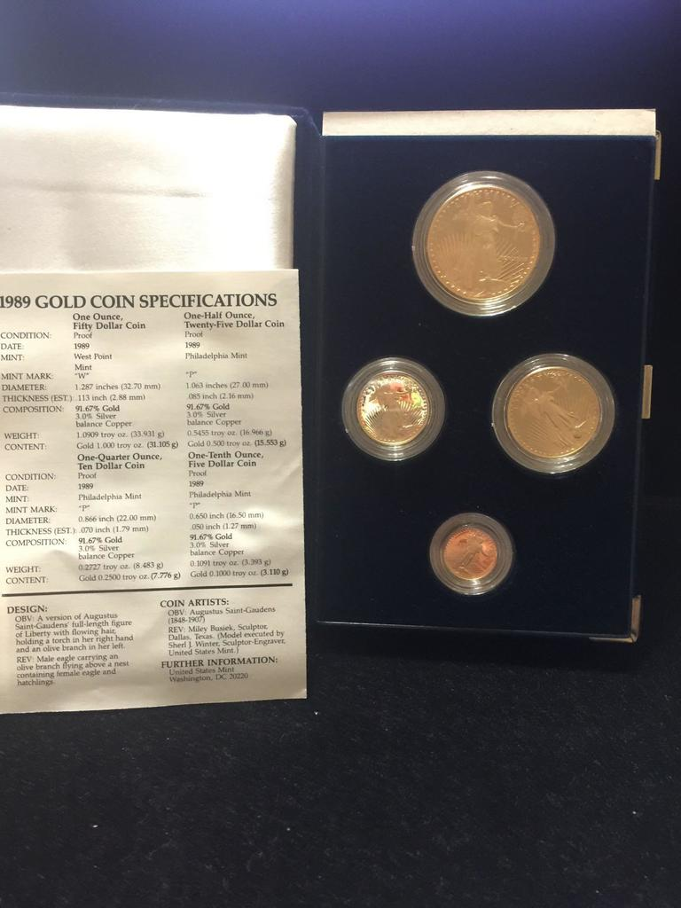 1989 US mint 4 coin Gold eagles set 1 ounce , 1/2 ounce ,1/4 ounce and 1/10 ounce W/ coa