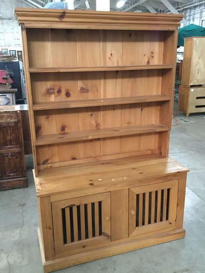 Vintage Oak china cabinet hutch - missing a piece see pics