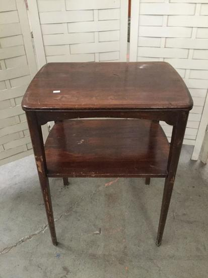 Vintage wood end table - shows wear - approx 20 x 15 x 26 inches