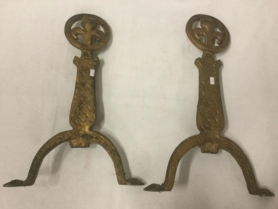 2 antique cast iron end irons