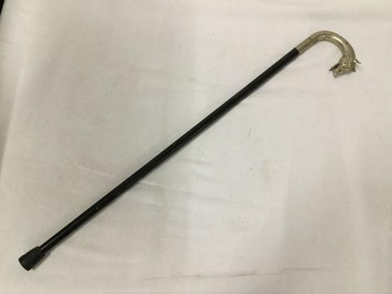 Antique PACCA hounds head cane walking stick w/ metal dog head approx 37 x 6 inches