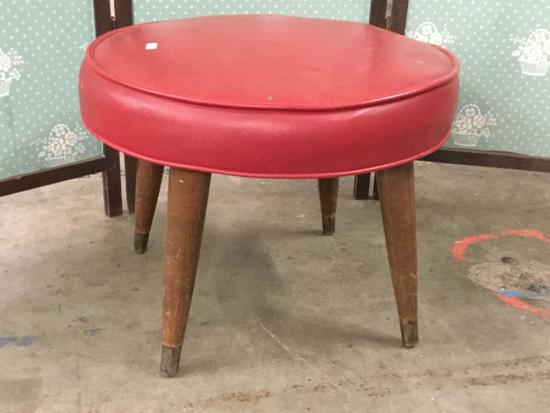 Vintage red leather/vinyl top cushioned stool