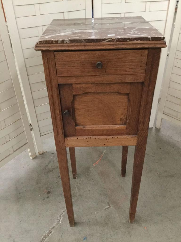 Antique wood nightstand w/ (broken) marble top approx 13 x 13 x 33 inches