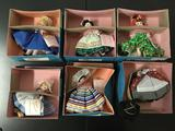 Lot of 6 Madame Alexander Dolls - dolls of the world plus Mother Goose (loose head)
